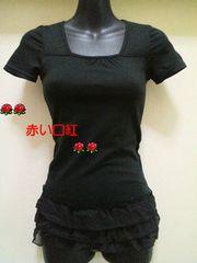 SS〜Sサイズ*細身size裾シホン3段フリル・フレンチ袖・Tシャツブラック