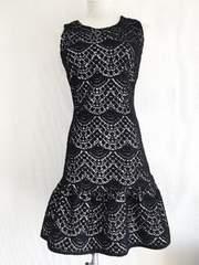 RINASCIMENTOリナシメント黒白ニットレースフレアワンピドレス