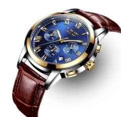 メンズ腕時計 ブラウン レザーバンド 防水ウォッチ