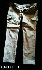 【UNIQLO】Washed ストレッチスリムストレートカーゴパンツ W88�p/Beige