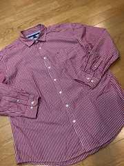 TOMMY HILFIGER  長袖ストライプシャツ 赤白  sizeXXL→XL used