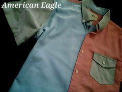 【アメリカンイーグル】Vintage Washed オックスフォードシャツ XL/カラーブロック