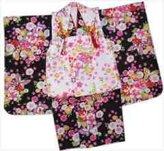 七五三着物3歳女の子被布セット(8点)黒&白蝶鞠古典花