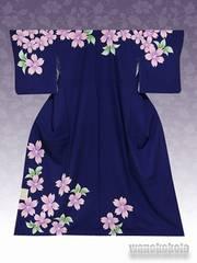 【和の志】洗える着物◇袷・付下げ◇紺系・桜柄◇KTK-124