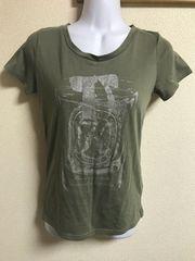 ★カーキ×シルバーラメプリント Tシャツ  M★