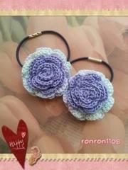 ハンドメイド♪レース編み2色のお花ヘアゴム2個セット 153