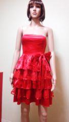 新品キャバ…真っ赤な大リボン&ティアードドレス☆3点で即落☆