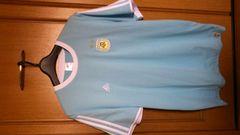 激安75%オフW杯、アルゼンチン、アディダス、Tシャツ、メッシ(新品タグ、水色、L)