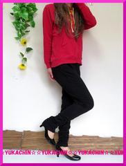 新作◆大きいサイズ3Lブラック◆裾クシュクシュ◆ストレッチスキニーパギンス