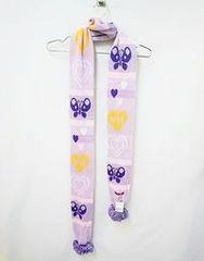 バレンタインハイバレハイ新品ハート&バタフライパステルポンポンニットロングマフラー紫