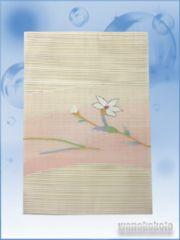 【和の志】正絹絽八寸名古屋帯◇ベージュ系・草花◇3