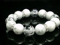 銀四神獣水晶14ミリ§ハウライト銀ロンデル14ミリ§数珠