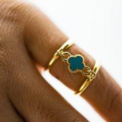 ピンキーリング 小クロス型チャーム(ターコイズ)サンド ダブル 指輪