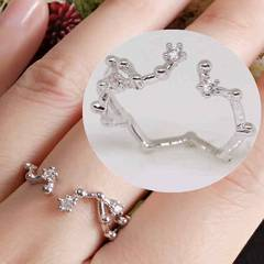 指輪18KRGPプラチナ高級CZフラワーリングyu1054e