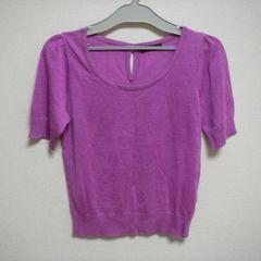 薄紫 半袖 薄手 ニットソー テンセル 38
