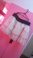 訳あり。大きいサイズ3L☆水玉シフォンティアードフリフリふんわりスカート