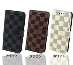 ★送料無料 iPhone7 / 7plus 手帳型スタンド 格子ケース チェック