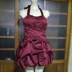 赤ビジュー ホルターバルーン ミニドレス・ワンピース