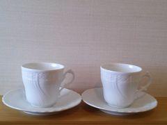 □リチャードジノリ  ベッキオホワイト ペアコーヒー&ソーサー  L□新品