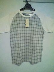 A-69★新品★半袖ラグランTシャツ ライトブルー×ホワイト M