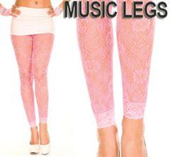 A225)MUSICLEGSフローラルレースレギンスネオンピンクダンス衣装ストッキングタイツ蛍光
