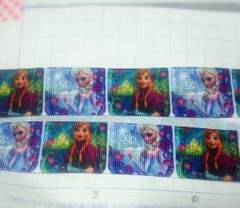 sale25mm巾【緑*グレー】アナと雪の女王柄リボン1M