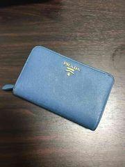 格安正規品PRADAプラダ二つ折り財布ブルー青中財布