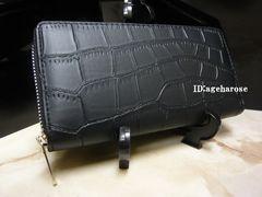 新品 ファスナー長財布 ブラック クロコダイル型押 合皮
