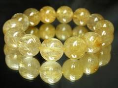 高級天然石数珠??極上タイチンルチル16ミリ金運ブレスレット