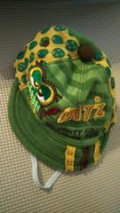 Bits ビッツ44紐付き帽子キャップスウェット地緑ハットフクロウ