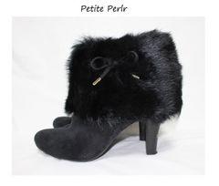 プチペルル*Petite Perlr★ファー×リボン付ショートブーツ(LL/25〜25.5)