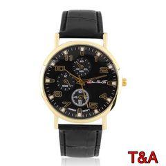 腕時計 メンズ  高品質レザー 革 ベルト ウォッチ ブラック