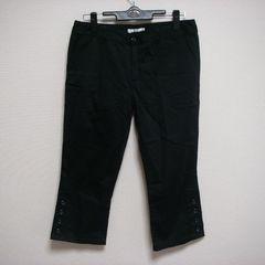 グラシア LL 大きいサイズ 裾ボタンデザイン パンツ BK