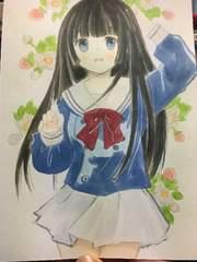自作イラスト オリジナル制服少女