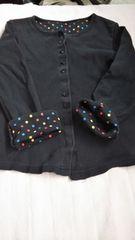 女児袖口ドット黒長袖120
