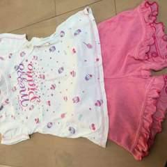 120)メゾピアノリゾート着に!半袖Tシャツ&短パンセット