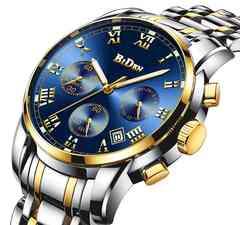クラシックメンズ防水マルチ機能クォーツ腕時計 ゴールド