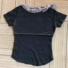 首元ストライプ&リボン 半袖Tシャツ.美品