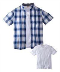 Mサイズ2点セット!麻混パナマチェック半袖and半袖Tシャツ!新品セット!涼しげ素材!