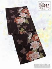 【和の志】女性用HL浴衣◇チョコブラウン系・クレマチス◇HL-3