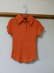 新品 カットソー トップス 半袖 ポロシャツ オレンジ