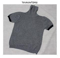 テチチ*Te'chichi*SM2アンゴラ混半袖タートルニット新品グレー