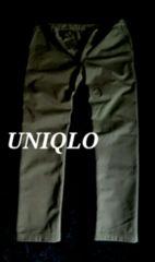【UNIQLO】ユニクロ 厚手 防風ストレッチスリムフィットチノパンツ W88〜90�p/Olive