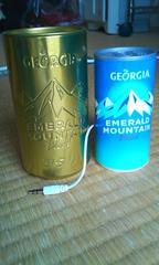 ジョージアエメラルドマウンテン 当たり缶ポータブルスピーカー ブルー