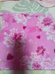 ☆新品ピンク×桜レースリボンハートラメ入柄ナナメ掛巾着袋
