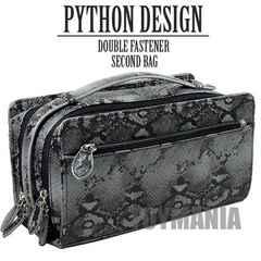 新品 オラオラ系 パイソン柄 蛇柄 ダブルファスナー セカンドバッグ メンズ 黒 新品
