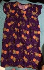 アジアンリゾート風◆半袖ワンピース◆紫色◆ひざ下丈