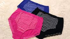 5Lショーツ3枚セット☆チェック柄3色★ピンクブラックブルー新品