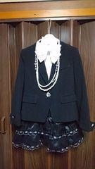 120入学式 卒園式 結婚式スーツ黒色6点セット ミチコロンドン+おまけ有