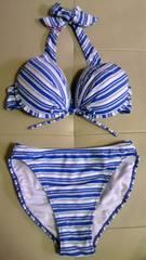 T&C・タウカン刺繍ロゴ&ラメバイアスボーダー柄ホルターリボンワイヤービキニ水着青 7S